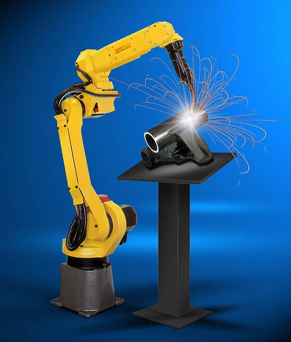 ربات جوشکار مفصل دار در یک کارخانه – یکی از اتواع رباتهای صنعتی